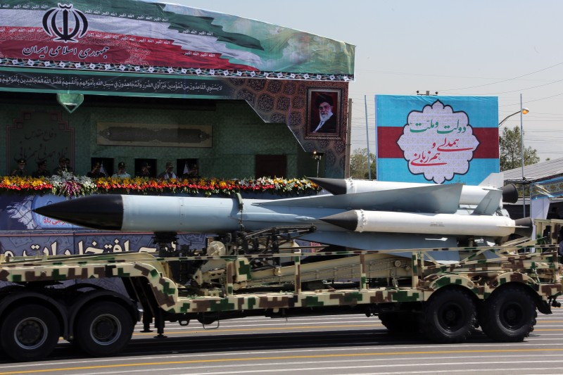 A S-200 surface-to-air missile is driven past Iranian military commanders during the annual military parade marking the anniversary of the start of Iran's 1980-1988 war with Iraq, on September 22, 2015, in the capital Tehran.  AFP PHOTO / ATTA KENARE        (Photo credit should read ATTA KENARE/AFP/Getty Images)