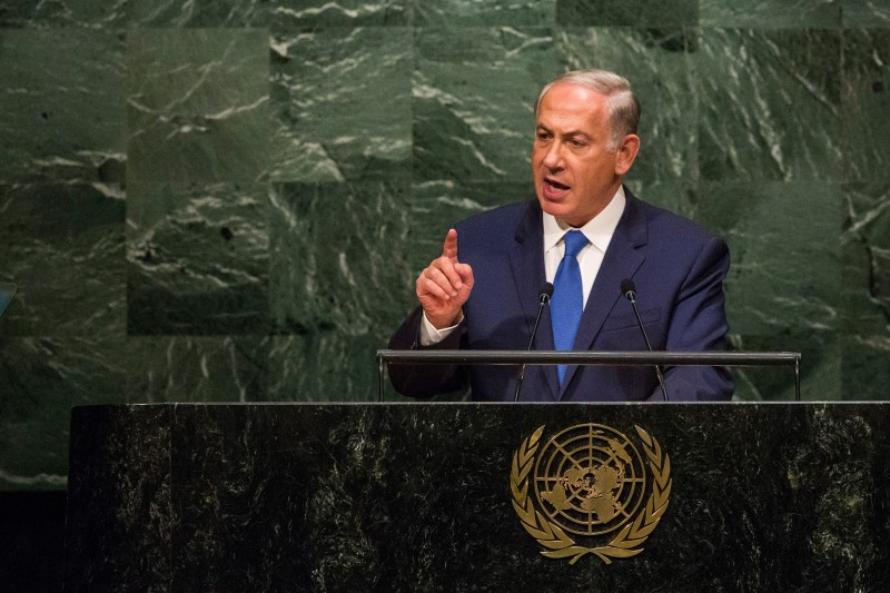 NEW YORK, NY - OCTOBER 01:  Benjamin Netanyahu, Prime Minister of Israel, speaks at the United Nations General Assembly on October 1, 2015 in New York City. Netanyahu spoke at length about the nuclear deal with Iran. World leaders gathered for the 70th session of the annual meeting.  (Photo by Andrew Burton/Getty Images)