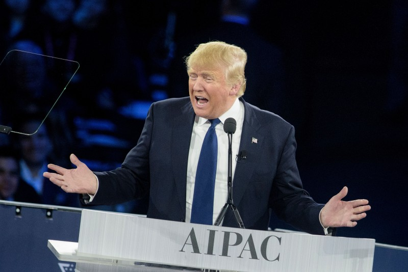 Republican US presidential hopeful Donald Trump addresses the 2016 American Israel Public Affairs Committee policy conference at the Verizon Center March 21, 2016 in Washington, DC. / AFP / Brendan Smialowski        (Photo credit should read BRENDAN SMIALOWSKI/AFP/Getty Images)