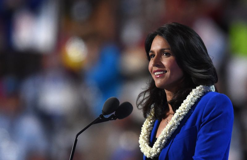 US Representative Tulsi Gabbard speaks during Day 2 of the Democratic National Convention at the Wells Fargo Center in Philadelphia, Pennsylvania, July 26, 2016. / AFP / Timothy A. CLARY        (Photo credit should read TIMOTHY A. CLARY/AFP/Getty Images)