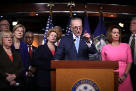 WASHINGTON, DC - JANUARY 04:  Senate Minority Leader Charles Schumer (D-NY) (C) is joined by fellow Democrats from both the House and Senate, including House Minority Leader Nancy Pelosi (D-CA) (R) following a meeting with U.S. President Barack Obama at the U.S. Capitol January 4, 2017 in Washington, DC. Obama came to Capitol Hill to encourage his fellow Democrats to work to preserve his signature health care law, also known as Obamacare.  (Photo by Chip Somodevilla/Getty Images)