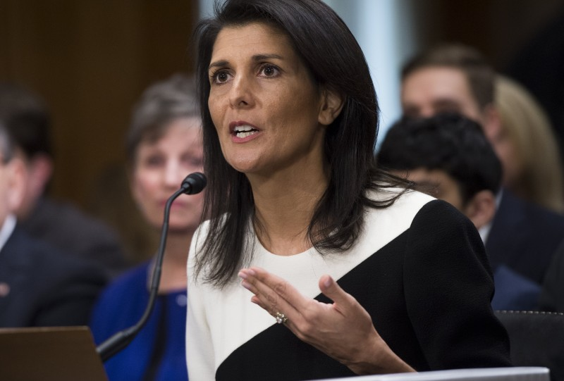 South Carolina Governor Nikki Haley testifies during her confirmation hearing for US Ambassador to the United Nations (UN) before the Senate Foreign Relations committee on Capitol Hill in Washington, DC, January 18, 2017. / AFP / SAUL LOEB        (Photo credit should read SAUL LOEB/AFP/Getty Images)