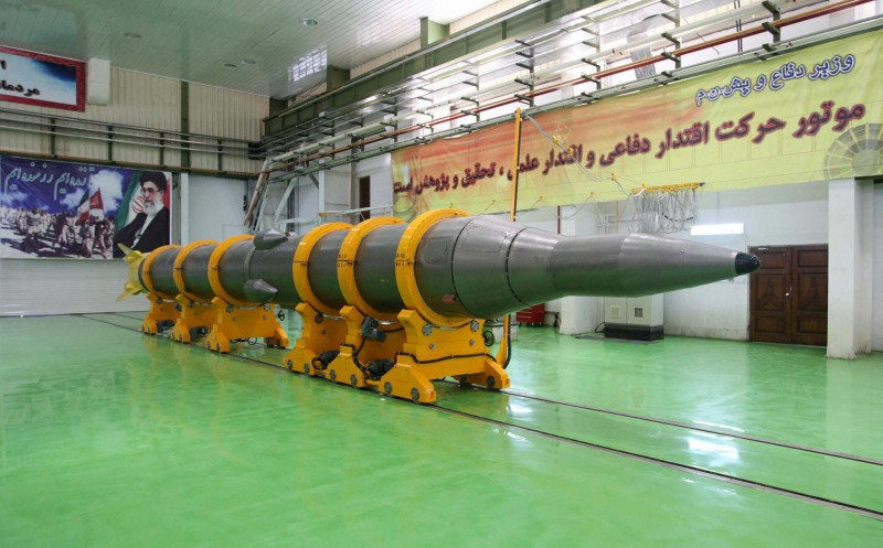 A picture shows the new medium-range surface to surface missile, named Sejil-2, at an undisclosed location in Iran prior to its test-firing on May 20, 2009. President Mahmoud Ahmadinejad announced that Iran had successfully test-fired the new missile, drawing a warning from Israel that Europe too should now worry about the Islamic republic's ballistic programme. AFP PHOTO/STR/FARS NEWS (Photo credit should read -/AFP/Getty Images)
