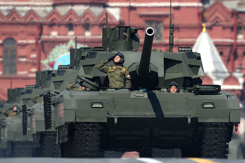 Russian T-14 Armata tanks roll along Red Square during the Victory Day military parade in Moscow on May 9, 2016. Russia marks the 71st anniversary of the Soviet Union's victory over Nazi Germany in World War II. / AFP / VASILY MAXIMOV        (Photo credit should read VASILY MAXIMOV/AFP/Getty Images)