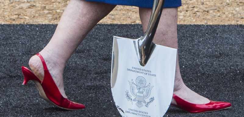 Former US Secretary of State Madeleine Albright walks with a ceremonial shovel during a ceremony to break ground on the US Diplomacy Center at the US State Department in Washington, DC, September 3, 2014.                  AFP PHOTO / Jim WATSON        (Photo credit should read JIM WATSON/AFP/Getty Images)