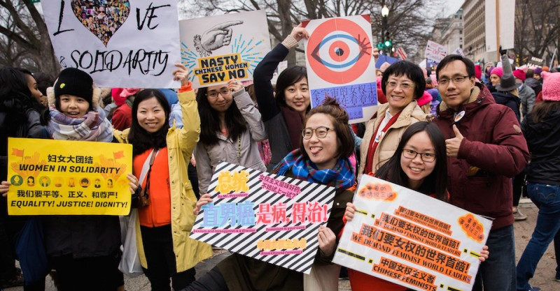 Chinese feminists pose for a group photo during the Women's March in Washington, D.C. on January 21, 2017.