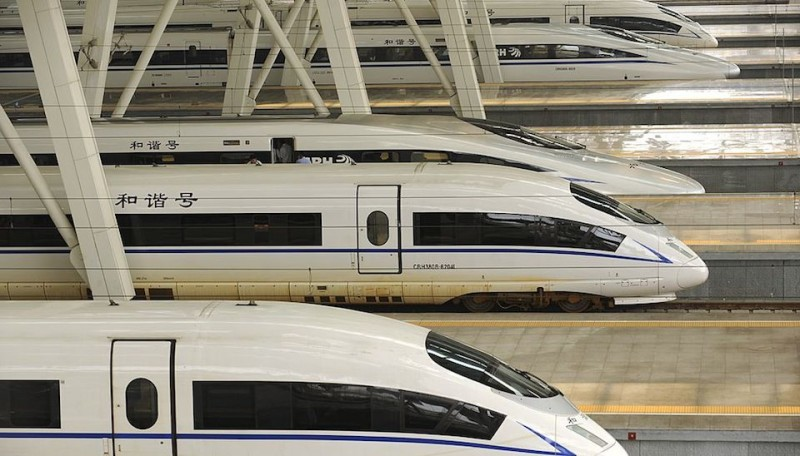"A picture taken on August 11, 2011 show two CRH380BL bullet trains (bottom) sitting at Beijing south railway station.  State-owned Chinese train manufacturer China CNR Corp said it is recalling 54 of its CRH380BL bullet trains being used on a new high-speed rail link between Beijing and Shanghai because of ""flaws"". AFP PHOTO/Peter PARKS (Photo credit should read PETER PARKS/AFP/Getty Images)"