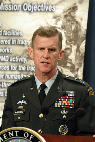 030414-D-2987S-060  Army Maj. Gen. Stanley A. McChrystal answers a reporter's question during a Pentagon press conference on April 14, 2003.  McChrystal and Assistant Secretary of Defense for Public Affairs Victoria Clarke brought reporters up-to-date on Operation Iraqi Freedom, which is the multinational coalition effort to liberate the Iraqi people, eliminate Iraq's weapons of mass destruction and end the regime of Saddam Hussein.  McChrystal is the vice director for Operations, J-3, the Joint Staff.  DoD photo by Helene C. Stikkel.  (Released)