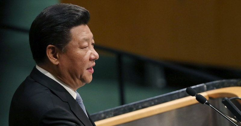 NEW YORK, NY - SEPTEMBER 28:  People's Republic of China President Xi Jinping delivers remarks at the United Nations General Assembly at U.N. headquarters on September 28, 2015 in New York City. The ongoing war in Syria and the refugee crisis it has spawned are playing a backdrop to this years 70th annual General Assembly meeting of global leaders.  (Photo by Spencer Platt/Getty Images)