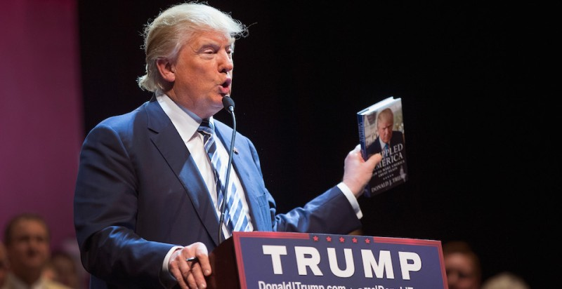 FORT DODGE, IA - NOVEMBER 12:  Republican presidential candidate Donald Trump talks about his book during a campaign stop at Iowa Central Community College on November 12, 2015 in Fort Dodge, Iowa. The stop comes on the heals of Tuesday's eight-candidate Republican debate in Milwaukee where a national poll of viewers declared Trump the winner.  (Photo by Scott Olson/Getty Images)