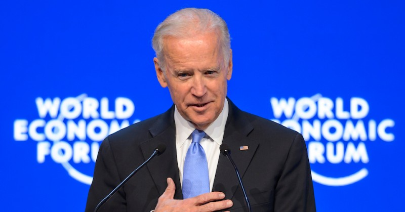 US Vice President Joe Biden gestures during his speech at the World Economic Forum (WEF) annual meeting in Davos, on January 20, 2016.. Rising risks to the global economy and a string of jihadist attacks around the world overshadowed the opening of an annual meeting of the rich and powerful in the snow-blanketed Swiss ski resort. Even as heads of state, billionaires and Hollywood megastar Leonardo DiCaprio were arriving, the International Monetary Fund (IMF) sounded the alarm about perils in the major emerging market economies and lowered its outlook for global economic growth this year.  / AFP / FABRICE COFFRINI        (Photo credit should read FABRICE COFFRINI/AFP/Getty Images)