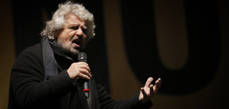 The leader of the Five Star Movement, Beppe Grillo, delivers a speech during a campaign meeting  upon a referendum on constitutional reforms, on December 2, 2016 in Piazza San Carlo in Turin. Beppe Grillo, leader of the populist Five Star Movement calls his supporters to vote NO at the referendum on constitution which be held on December 4, 2016. / AFP / MARCO BERTORELLO        (Photo credit should read MARCO BERTORELLO/AFP/Getty Images)