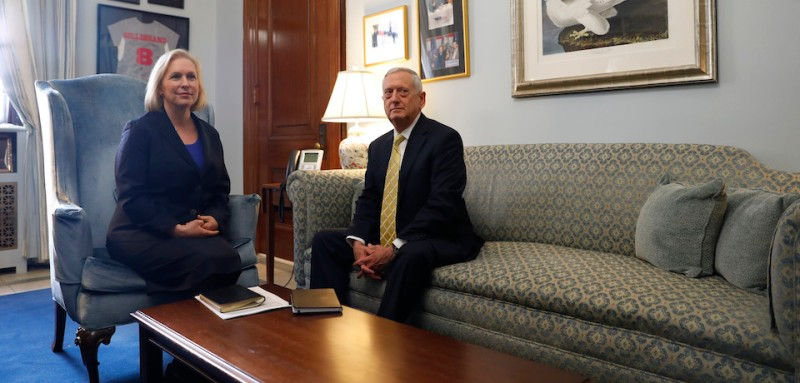 WASHINGTON, DC - JANUARY 4: U.S. Sen. Kirsten Gillibrand (D-N.Y.) meets with retired General James Mattis on January 4, 2017 on Capitol Hill in Washington, DC. General Mattis is President-elect Donald Trump's nominee for Secretary of Defense. (Photo by Aaron P. Bernstein/Getty Images)