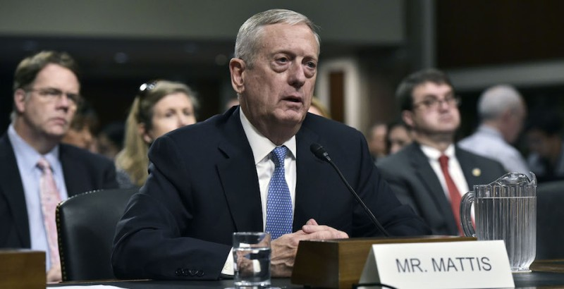 Retired Marine Corps general James Mattis testifies before the Senate Armed Services Committee on his nomination to be the next secretary of defense in the Dirksen Senate Office Building on Capitol Hill in Washington, DC on January 12, 2017. / AFP / Mandel Ngan        (Photo credit should read MANDEL NGAN/AFP/Getty Images)