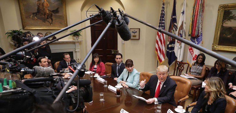 WASHINGTON, DC - JANUARY 30:  U.S. President Donald Trump (2nd R) delivers remarks at the beginning of a meeting with (L-R) Jennifer Korn, Taylor Gourment co-owner Casey Patten, El Sombrero Mexican Bistro owner Irma Aguirre, Joy Weatherup-Anthis of JWA Construction Managment and other small business people in the Roosevelt Room at the White House January 30, 2017 in Washington, DC. During the meeting, Trump said he will announce his 'unbelievably highly respected' pick to replace the late Supreme Court Antonin Scalia on Tuesday evening.  (Photo by Chip Somodevilla/Getty Images)