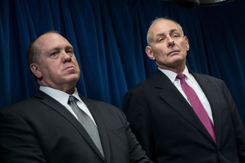 WASHINGTON, DC - JANUARY 31: (L to R) U.S. Immigration and Customs Enforcement (ICE) Acting Director Thomas Homan and Secretary of Homeland Security John Kelly listen to questions during a press conference related to President Donald Trump's recent executive order concerning travel and refugees, January 31, 2017 in Washington, DC. On Monday night, President Donald Trump fired the acting Attorney General Sally Yates after she released a statement saying the Justice Department would not enforce the president's executive order that places a temporary ban on citizens from seven Muslim-majority countries. (Photo by Drew Angerer/Getty Images)