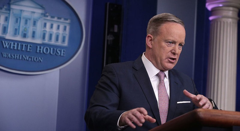 WASHINGTON, DC - JANUARY 23:  White House Press Secretary Sean Spicer speaks during a daily briefing at the James Brady Press Briefing Room of the White House January 23, 2017 in Washington, DC. Spicer conducted his first official White House daily briefing to take questions from the members of the White House press corps.  (Photo by Alex Wong/Getty Images)