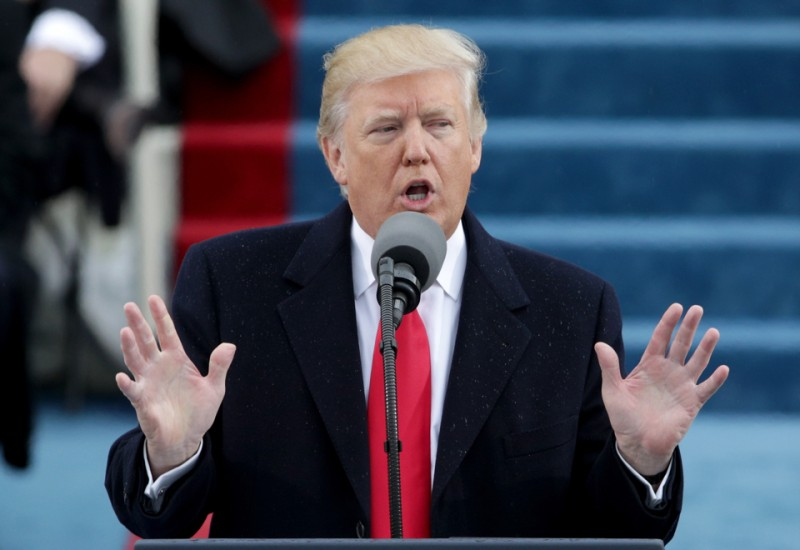 WASHINGTON, DC - JANUARY 20:  President Donald Trump delivers his inaugural address on the West Front of the U.S. Capitol on January 20, 2017 in Washington, DC. In today's inauguration ceremony Donald J. Trump becomes the 45th president of the United States.  (Photo by Alex Wong/Getty Images)