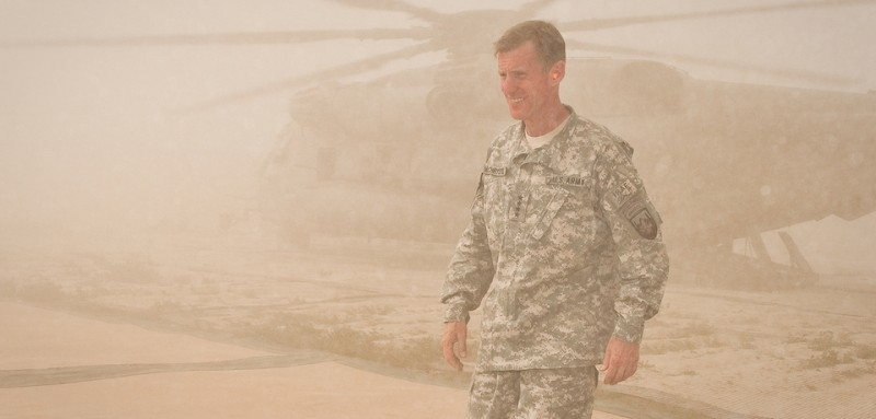 HELMAND PROVINCE, Afghanistan (April 1, 2010) —U.S. Army Gen. Stanley A. McChrystal, commander of NATO's International Security Assistance Force and U.S. Forces-Afghanistan arrives at Combat Outpost Sharp in the Garmsir District. (U.S. Navy photo by Petty Officer 1st Class Mark O'Donald/Released)