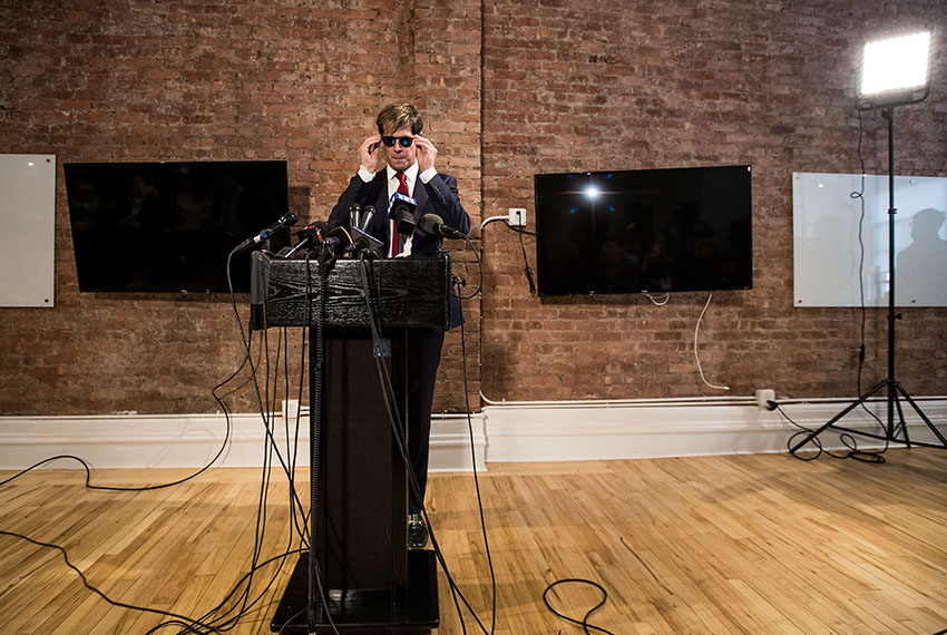 NEW YORK, NY - FEBRUARY 21: Milo Yiannopoulos announces his resignation from Brietbart News during a press conference, February 21, 2017 in New York City. After comments he made regarding pedophilia surfaced in an online video, Yiannopoulos was uninvited to speak at the Conservative Political Action Conference (CPAC) and lost a major book deal with Simon & Schuster. (Photo by Drew Angerer/Getty Images)
