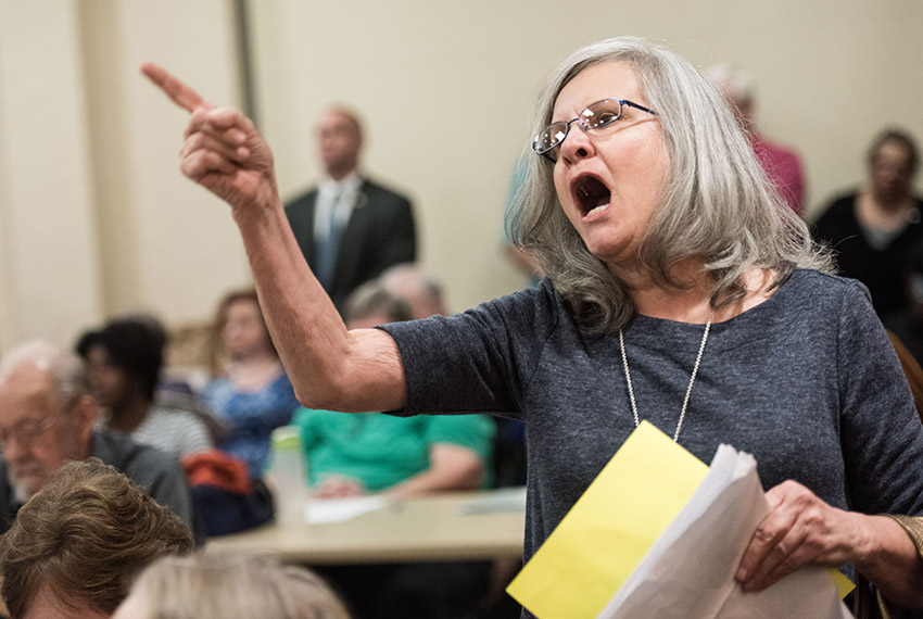 FLORENCE, SC - FEBRUARY 23, 2017: Delia Blintz, of Florence, SC, voices her concerns during a town hall meeting with U.S. Rep. Tom Rice (R-SC) at the Florence County Library on February 23, 2017 in Florence, South Carolina. Hundreds of constituents attended the event to ask questions and voice their opinions with the Republican lawmaker. (Photo by Sean Rayford/Getty Images)