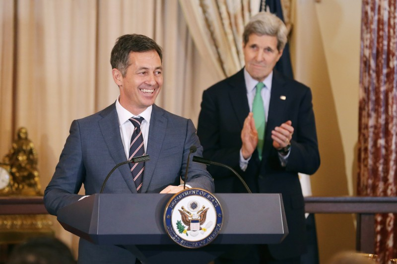 "WASHINGTON, DC - FEBRUARY 27:   Randy Berry (L), the first-ever Special Envoy for the Human Rights of Lesbian, Gay, Bisexual and Transgender Persons, delivers remarks during a reception in his honor with U.S. Secretary of State John Kerry in the Ben Franklin Room at the Department of State February 27, 2015 in Washington, DC. The State Department said Berry's responsibility will be to ""reaffirm the universal human rights of all persons, regardless of sexual orientation or gender identity.""  (Photo by Chip Somodevilla/Getty Images)"