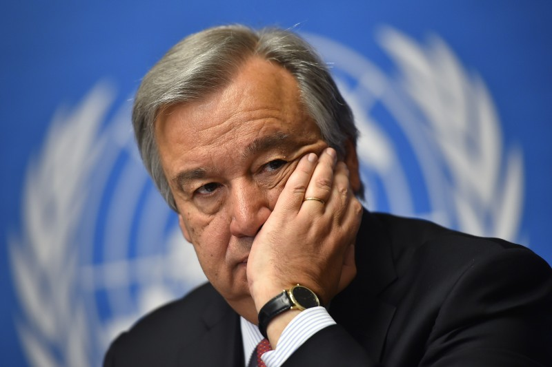 António Guterres attends a press conference presenting the Internal Displacement Monitoring Centre report in Geneva on May 14, 2014. (Fabrice Coffrini/AFP/Getty Images)