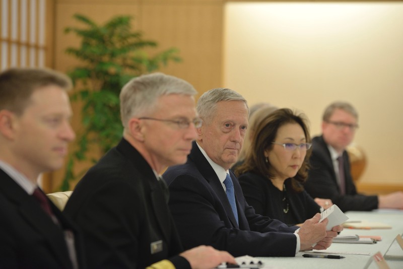 """US Defense Secretary James Mattis (C) attends a meeting with Japanese Minister of Foreign Affairs Fumio Kishida (not pictured) in Tokyo on February 3, 2017.  Any nuclear attack by North Korea would trigger an """"effective and overwhelming"""" response, US Defence Secretary James Mattis said February 3 as he sought to reassure Asian allies rattled by President Donald Trump's isolationist rhetoric. / AFP / POOL / DAVID MAREUIL        (Photo credit should read DAVID MAREUIL/AFP/Getty Images)"""