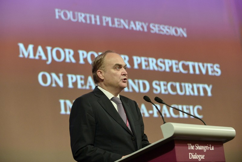 "Russia's Deputy Minister of Defence Anatoly Antonov speaks during the fourth plenary session at the 13th International Institute for Strategic Studies (IISS) Shangri-La Dialogue (SLD) in Singapore on June 1, 2014. China on June 1 strongly denounced Japanese Prime Minister Shinzo Abe and US defence chief Chuck Hagel for making ""provocative"" speeches against Beijing. AFP PHOTO / ROSLAN RAHMAN        (Photo credit should read ROSLAN RAHMAN/AFP/Getty Images)"