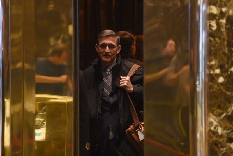 Retired general Michael Flynn arrives at Trump Tower for meetings with President-elect  Donald Trump November 16, 2016 in New York.  / AFP / TIMOTHY A. CLARY        (Photo credit should read TIMOTHY A. CLARY/AFP/Getty Images)