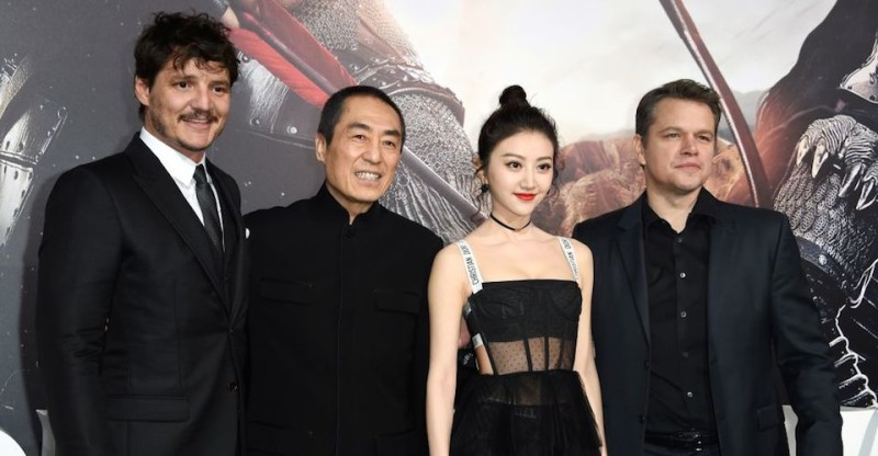 "(L-R) Actor Pedro Pascal, director Zhang Yimou, actress Jing Tian and Matt Damon attend the premiere of Universal Pictures' ""The Great Wall,"" February 15, 2017, at the TCL Chinese Theatre in Hollywood, California. / AFP / Robyn Beck        (Photo credit should read ROBYN BECK/AFP/Getty Images)"