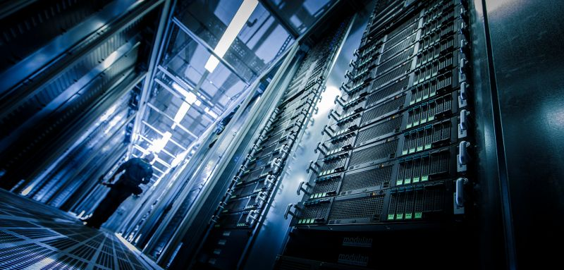 BIERE, GERMANY - JULY 01: Server rack at the new data center of T-Systems, a subsidiary of Deutsche Telekom AG on July 01, 2014, in Biere, Germany. T-Systems is the largest German and one of the largest European IT services companies. (Photo by Thomas Trutschel/Photothek via Getty Images)