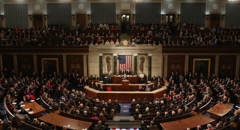 WASHINGTON, DC - JANUARY 12:  U.S. President Barack Obama (C) delivers the State of the Union speech before members of Congress in the House chamber of the U.S. Capitol January 12, 2016 in Washington, DC. In his last State of the Union, President Obama reflected on the past seven years in office and spoke on topics including climate change, gun control, immigration and income inequality.  (Photo by Alex Wong/Getty Images)