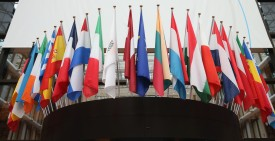 BRUSSELS, BELGIUM - FEBRUARY 18:  Flags of the European Union member states hang inside the Council of the European Union's Lex building on February 18, 2016 in Brussels, Belgium. Most of Europe's 28 member state leaders are gathering in Brussels to take part in a crucial summit and vote on British Prime Minister David Cameron's pledge to renegotiate the terms of Britain's membership in the EU, namely proposals to limit benefits for migrant workers. A referendum on whether Great Britain will stay in or leave the European Union is to be held before the end of 2017, though many expect it to take place in June this year.  (Photo by Dan Kitwood/Getty Images)