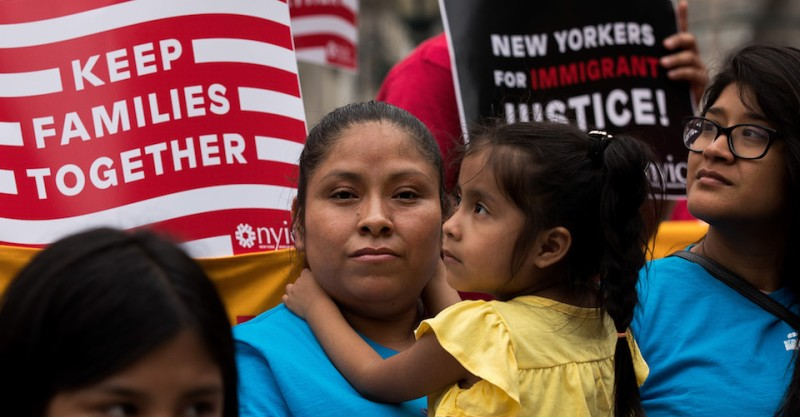 NEW YORK, NY - JUNE 28: Mexican immigrant Nieves Ojendiz holds her 4-year old daughter Jane as she attends an immigration reform rally with members and supporters of the New York Immigration Coalition, June 28, 2016 in New York City, New York. Last week the U.S. Supreme Court deadlocked in a 4-4 decision concerning President Barack ObamaÕs immigration plan, which would have protected millions of undocumented immigrants from being deported. Because the Supreme Court was split, a 2015 lower-court ruling invalidating ObamaÕs executive action will stand. (Photo by Drew Angerer/Getty Images)