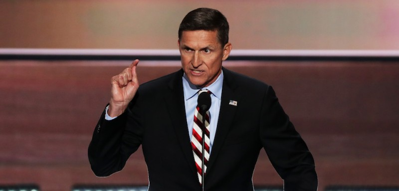 CLEVELAND, OH - JULY 18: Retired Lt. Gen. Michael Flynn delivers a speech on the first day of the Republican National Convention on July 18, 2016 at the Quicken Loans Arena in Cleveland, Ohio. An estimated 50,000 people are expected in Cleveland, including hundreds of protesters and members of the media. The four-day Republican National Convention kicks off on July 18. (Photo by Alex Wong/Getty Images)