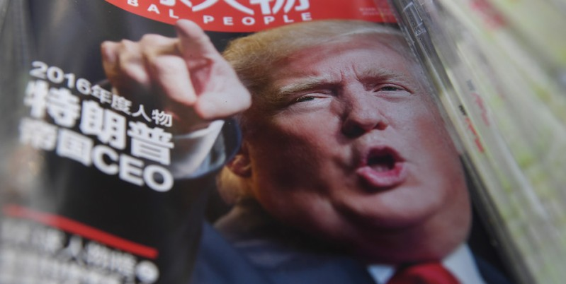 A Chinese magazine with a front page story naming US President-elect Donald Trump as their Person of the Year is seen at a news stand in Beijing on December 29, 2016. / AFP / GREG BAKER        (Photo credit should read GREG BAKER/AFP/Getty Images)