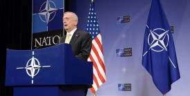 "US Secretary of Defence James Mattis addresses a press conference following the NATO Defence Ministers' meeting at the NATO headquarters in Brussels, on February 16, 2017. The US military is not yet ready to cooperate with Russia, Pentagon chief James Mattis said on February 16 after Moscow's defence minister called for better ties. ""We are not in a position right now to collaborate on a military level, but our political leaders will engage and try to find common ground or a way forward,"" Mattis told reporters at the NATO summit in Brussels.  / AFP / THIERRY CHARLIER        (Photo credit should read THIERRY CHARLIER/AFP/Getty Images)"