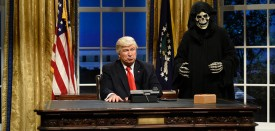 """SATURDAY NIGHT LIVE -- """"Kristen Stewart"""" Episode 1717 -- Pictured: (l-r) Alec Baldwin as President Donald J. Trump, Mikey Day as advisor Steve Bannon during the Oval Office Cold Open on February 4th, 2017 -- (Photo by: Will Heath/NBC)"""