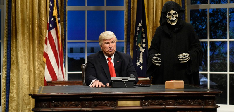 "SATURDAY NIGHT LIVE -- ""Kristen Stewart"" Episode 1717 -- Pictured: (l-r) Alec Baldwin as President Donald J. Trump, Mikey Day as advisor Steve Bannon during the Oval Office Cold Open on February 4th, 2017 -- (Photo by: Will Heath/NBC)"
