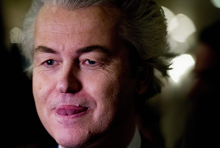 TOPSHOT - PVV leader Geert Wilders speaks to the press on election night in The Hague, on March 15, 2017.  The Liberal party of Dutch Prime Minister Mark Rutte was set to win the most seats in Wednesday's elections, forcing far-right Geert Wilders into second place along with two other parties,  the Christian Democratic Appeal and the Democracy party D66, exit polls predicted. / AFP PHOTO / ANP / Remko de Waal / Netherlands OUT - Belgium OUT        (Photo credit should read REMKO DE WAAL/AFP/Getty Images)