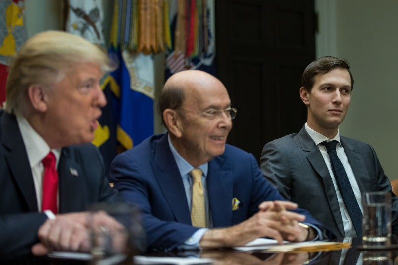WASHINGTON, DC - FEBRUARY 2: (AFP OUT) (L to R) President Donald Trump, Commerce Secretary nominee Wilbur Ross and senior advisor Jared Kushner attend a meeting with Senate and House legislators, in the Roosevelt Room at the White House, February 2, 2017 in Washington, DC. Lawmakers included in the meeting were Sen. Orrin Hatch (R-UT), Rep. Kevin Brady (R-TX), Sen. Ron Wyden (D-OR) and Rep. Richard Neal (D-MA). (Photo by Drew Angerer/Getty Images)