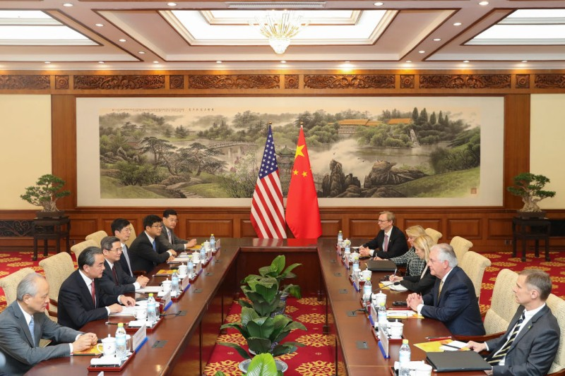 BEIJING, CHINA - MARCH 18:  Chinese Foreign Minister Wang Yi (2nd-L) meeting with U.S. Secretary of State Rex Tillerson (2nd-R) at Diaoyutai State Guesthouse on March 18, 2017 in Beijing, China. Tillerson is on his first visit to Asia as Secretary of State. (Photo by Lintao Zhang -Pool/Getty Images)