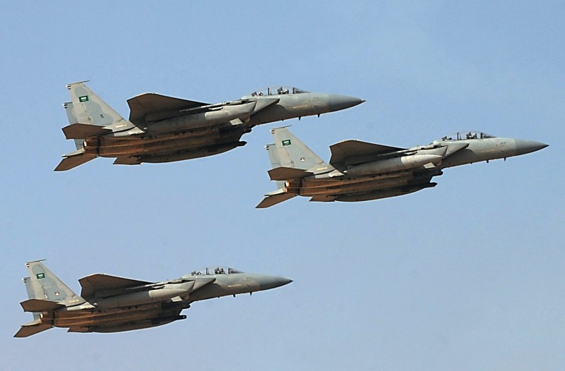 Jet fighters of the Saudi Royal air force performs during the graduation ceremony of the 83rd batch of King Faisal Air Academy (KFAA) students that was attended by Saudi Deputy Premier and Minister of Defense Crown Prince Salman bin Abdulaziz (not pictured) held at the Riyadh military airport, on January 1, 2013, in Riyadh.     AFP PHOTO/FAYEZ NURELDINE        (Photo credit should read FAYEZ NURELDINE/AFP/Getty Images)