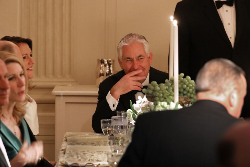 WASHINGTON, DC - FEBRUARY 26:  (AFP OUT) Secretary of State Rex Tillerson attends the annual Governors Dinner in the East Room of the White House February 26, 2017 in Washington, DC. Part of the National Governors AssociationÕs annual meeting in the nation's capital, the black tie dinner and ball is the first formal event the Trumps will host at the White House since moving in last month.  (Photo by Chip Somodevilla/Getty Images)
