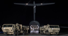 PYEONGTAEK, SOUTH KOREA - MARCH 06:  In this handout photo provided by U.S. Forces Korea, trucks are seen carrying parts required to set up the Terminal High Altitude Area Defense (THAAD) missile defense system that had arrived at the Osan Air Base on March 6, 2017 in Pyeongtaek, South Korea.  (Photo by United States Forces Korea via Getty Images)
