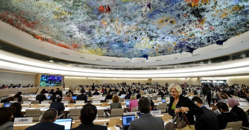 General view of the UN Human Rights Council session after the United Nations (UN) Commission of Inquiry on Syria delivered the latest report on the situation in the war-ravaged country to the UN Human Rights Council on September 16, 2014 in Geneva.   AFP PHOTO / FABRICE COFFRINI