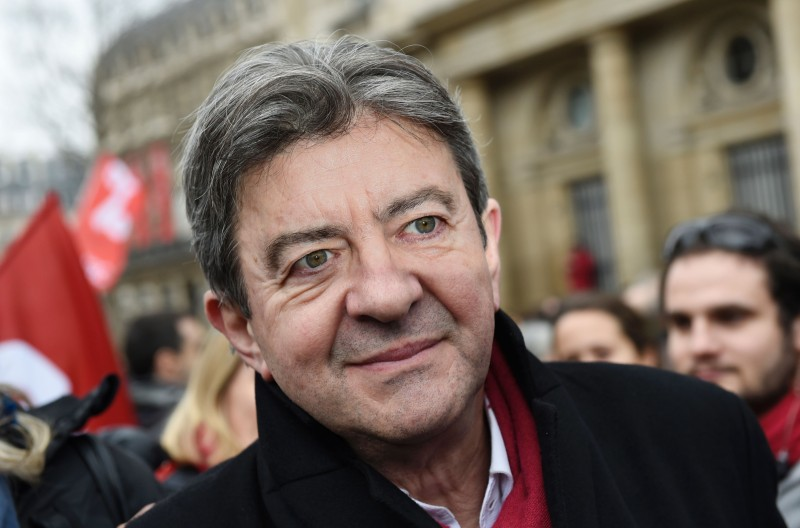 Leftist Front de Gauche (FG) leader Jean-Luc Melenchon takes part in a demonstration in support of the Greek people on February 15, 2015 in Paris. At least 2,000 people marched through the streets of Paris on February 15 heeding the call from unions and far-left organisations to voice their support for Greece and its new leftist anti-austerity government. AFP PHOTO / LOIC VENANCE / AFP / LOIC VENANCE        (Photo credit should read LOIC VENANCE/AFP/Getty Images)