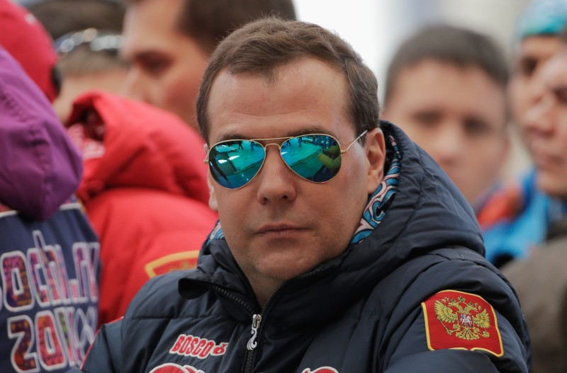 SOCHI, RUSSIA - FEBRUARY 23:  Russian Prime Minister Dmitry Medvedev is seen during the Men's Four-Man Bobsleigh on Day 16 of the Sochi 2014 Winter Olympics at Sliding Center Sanki on February 23, 2014 in Sochi, Russia.  (Photo by Adam Pretty/Getty Images)