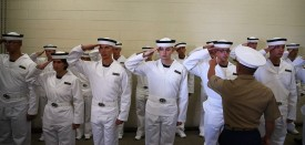 ANNAPOLIS, MD - JULY 01:  Incoming U.S. Navy plebes, or freshmen, are taught how to salute on their first day at the U.S. Naval Academy July 1, 2015 in Annapolis, Maryland. Over 1,193 Plebes will be processed through various stations that will culminate with the Oath of Office ceremony to become members of the Naval Academy's Class of 2019.  (Photo by Mark Wilson/Getty Images)